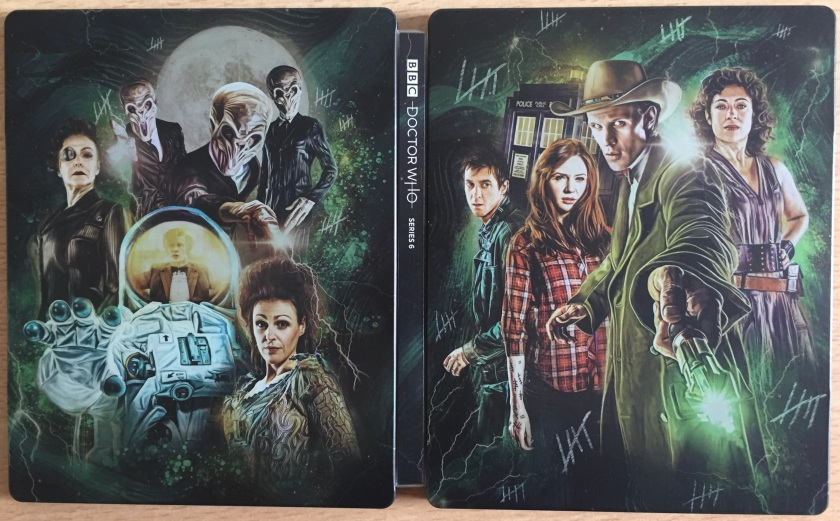 Unfolded back and front covers for the Doctor Who Series 6 Blu-ray steelbook, featuring colourful artwork of the Doctor, the Tardis, Amy, Rory, River Song, The Ood, and other characers from the series.