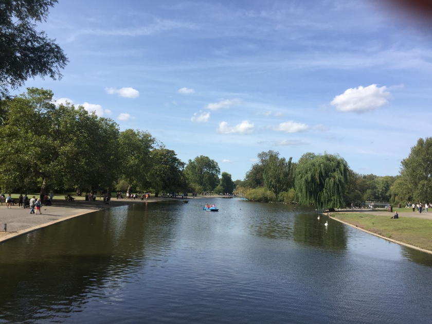 The large boating lake in Regent's Park in the sunshine.