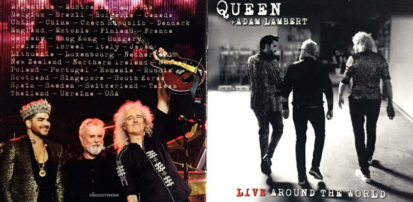 Booklet cover spread for Live Around The World by Queen and Adam Lambert. The front cover shows a black and white photo of Adam Lambert, Brian May and Roger Taylor glancing across to each other as they walk away from us. The back cover shows a colour photo of them facing us and smiling at the end of a show, Adam wearing a crown while Brian proudly holds up his guitar. Above their heads is a long list of cities they've performed in.