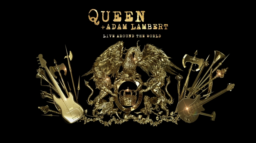 A large, shiny, gold, ornately decorated 3D version of the Queen crest, featuring a phoenix, lions and fairies surrounding a large letter Q, and large axes and guitars on the left and right. Above the crest, gold lettering reads Queen & Adam Lambert - Live Around The World.