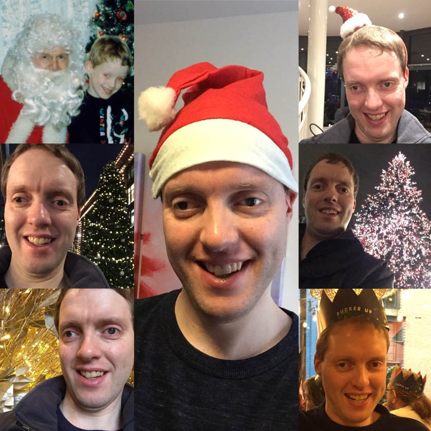 Collage of festive photos of Glen. The tall central photo shows him smiling and wearing a Santa hat. Columns of 3 photos on either side show him wearing a smaller Santa hat, wearing a hat from a Christmas cracker, standing in front of Christmas trees and decorations, and as a child sitting on Santa's lap.