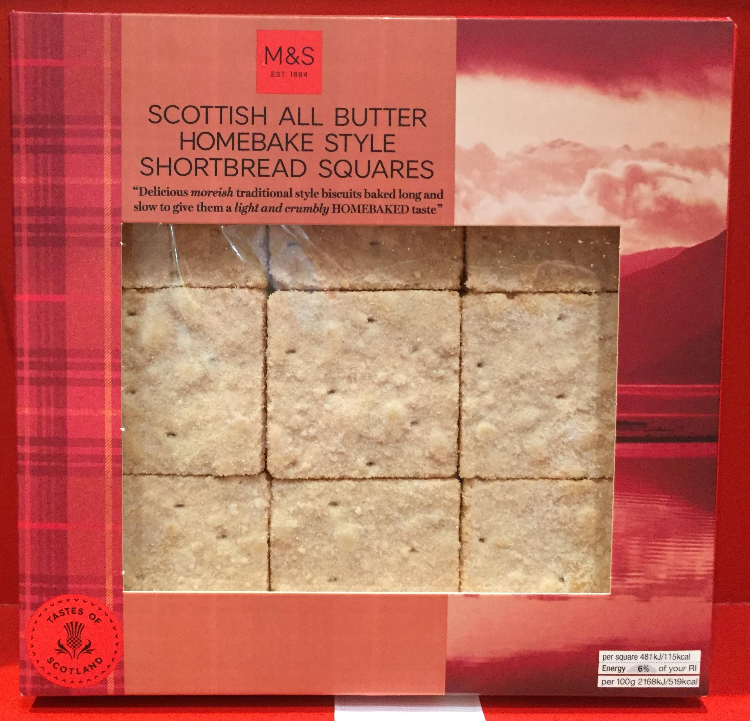 Marks & Spencer Scottish All Butter Homebake Style Shortbread Squares