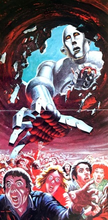 2 page spread from the album booklet for News Of The World, showing the steel robot from the cover reaching down to try and grab the people below, who are screaming and running away from him.