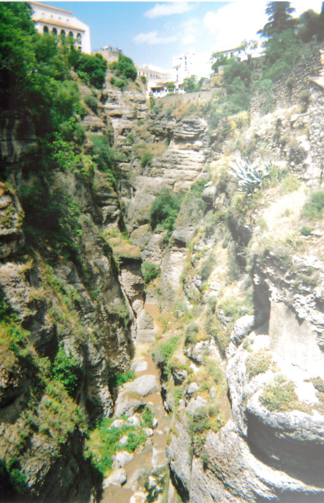 A deep narrow rocky gorge in Ronda, with a mixture of greenery and rocks at the bottom, and buildings on top of the gorge at the far end.