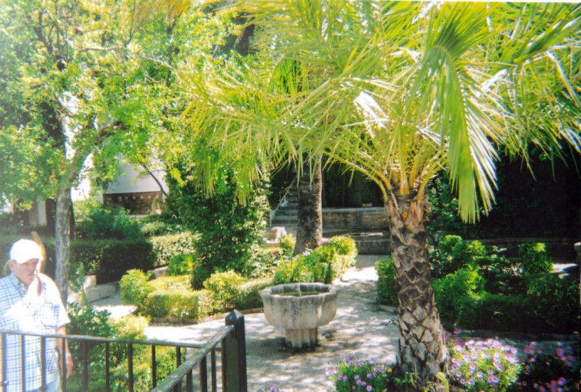 Mondragon Palace Garden in Ronda, with palm trees and other greenery.