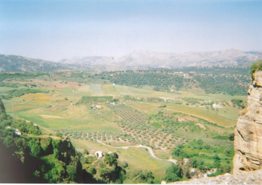 Scenic view of a green valley in Ronda from high up.