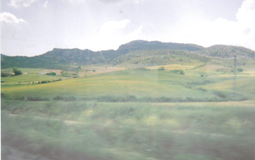 Another scenic view of fields and hills from the train in Ronda.