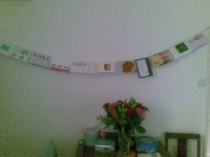 Several cards for my Nan's 100th birthday, hung up on a long line of string on the wall.